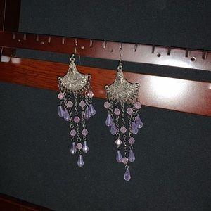 Silver and purple chandelier earrings